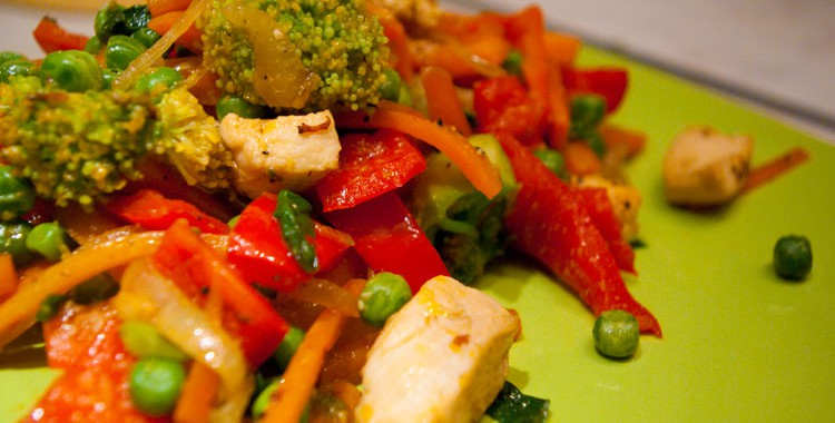 Стир-фрай: хрустящие овощи с куриным филе