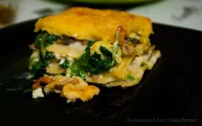 Лазанья с грибами и шпинатом
