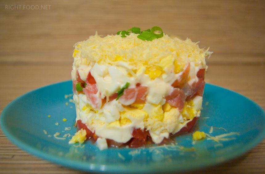 слоеный салат с красной икрой рецепты