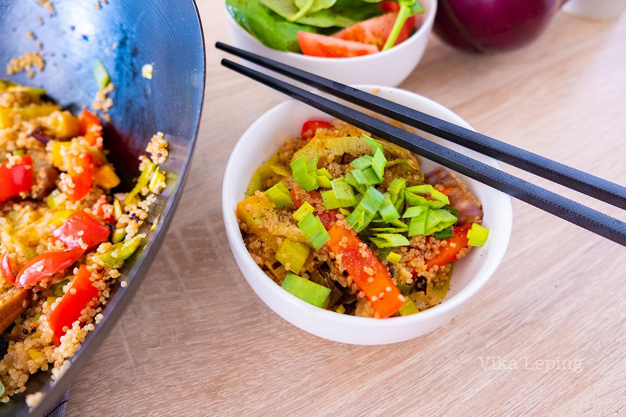 Киноа и овощи Вок дома - рецепт самого быстрого и вкусного ужина